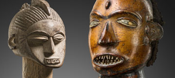 Lobi head from Burkina Faso as well as the Keaka head from Nigeria ar on offer at the 86th Tribal Art Auction Zemanek-Muenster in Wurzburg